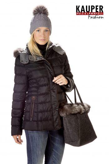 Kauper Pelz und Lammfell Fashion Schesslitz - Steppjacke mit Thermovlies und Fuchsverbrämung schwarz